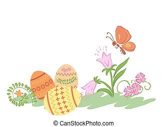 vlinder, eitjes, -, vector, bloemen, pasen