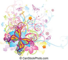 vlinder, floral, abstract, achtergrond