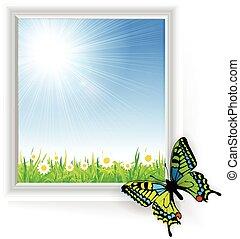 vlinder, gras, groene, illustratie