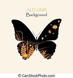 vlinder, gras, silhouette