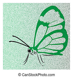 vlinder, groene, open, vleugels