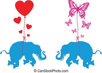 vlinder, hartjes, elefant
