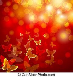 vlinder, kleurrijke, achtergrond, abstract