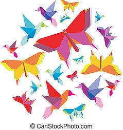 vlinder, lente, cirkel, vogel, origami