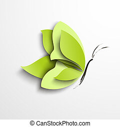 vlinder, papier, groene
