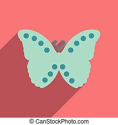 vlinder, pictogram, schaduw, plat, lang, vliegen