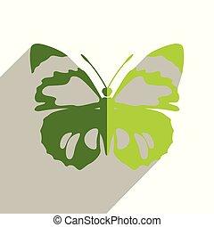 vlinder, plat, iconen, illustratie, vector, shadow.