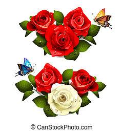 vlinder, rozen