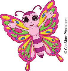 vlinder, schattig, spotprent