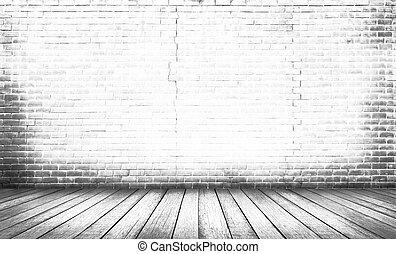 vloer, hout, witte achtergrond, muur, baksteen