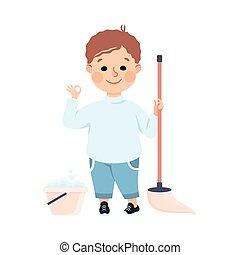 vloer, spotprent, jongen, vector, ouders, illustratie, housework, schattig, klusjes, geitje, portie, stijl, mopping, of, zijn, huisgezin