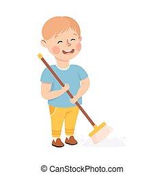 vloer, spotprent, jongen, vector, ouders, illustratie, housework, schattig, klusjes, geitje, portie, stijl, vegen, of, zijn, huisgezin