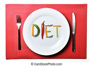 voeding, concept, gezonde , groentes, dieet, geschreven