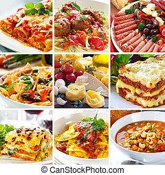 voedingsmiddelen, collage, italiaanse