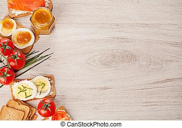 voedingsmiddelen, smakelijk, grens, canapes, achtergrond