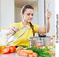 voedingsmiddelen, vrouw, het koken, vegetariër