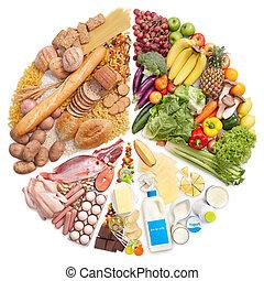voedsel piramide, cirkeldiagram