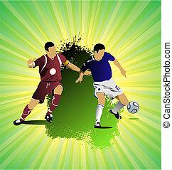 voetbal, grunge, gekleurde, banner., illustratie, vector, ontwerpers