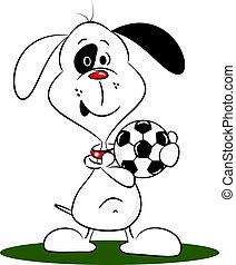 voetbal, spotprent, dog