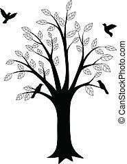 vogel, boompje, silhouette