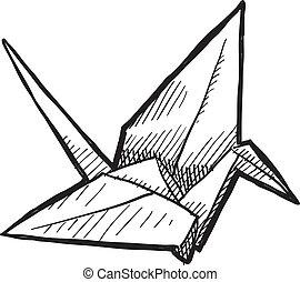 vogel, origami, schets