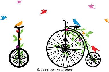 vogels, fiets, vector, retro