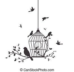 vogels, kleurrijke, boompje