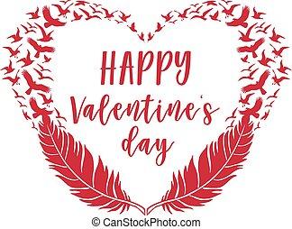vogels, valentine, kaart, veertjes, vector, dag