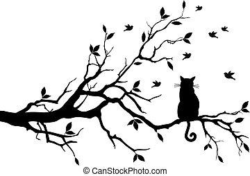 vogels, vector, boompje, kat
