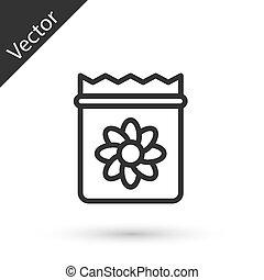 volle, grijze , specifiek, pictogram, vector, vrijstaand, lijn, witte , achtergrond., plant, zaden, troep