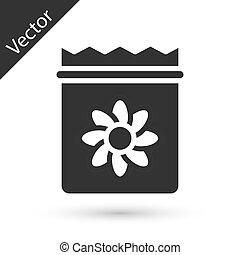 volle, grijze , specifiek, pictogram, vector, vrijstaand, witte , achtergrond., plant, zaden, troep