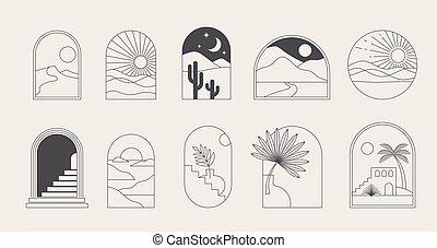 voorbeelden, logos, boog, vensters, abstract, symbolen, communie, geometrisch, decoration., lineair, boheems, landscape, ontwerp, iconen