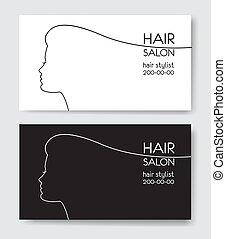 voorbeelden, withl, salon, vrouw zaak, silhouette., haar, kaart, silho