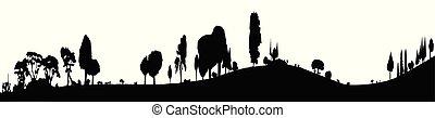 voorgrond, bosrijk, spandoek