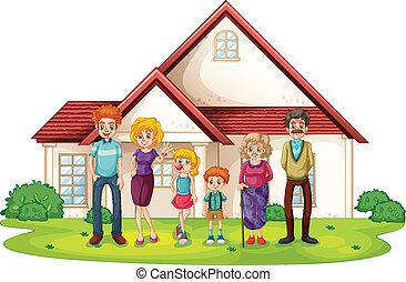 voorkant, woning, groot, gezin, hun