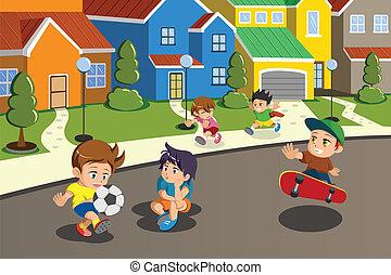 voorstedelijk, geitjes, buurt straat, spelend