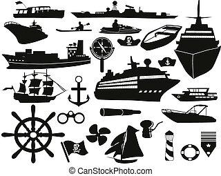 voorwerpen, set, zeilend, pictogram