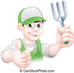 vork, spotprent, tuinman, vrolijke