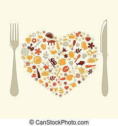 vorm, hart, restaurant, ontwerp