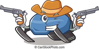 vorm, karakter, snowmobile, cowboy