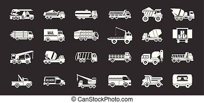 vrachtwagen, vector, set, grijze , pictogram