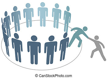 vriend, mensen, toevoegen, hulp, leden, groep, bedrijf, weldoener