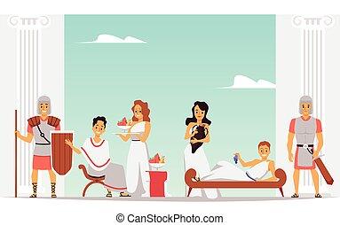 vrije tijd, time., spotprent, mensen, oud, spandoek, rome, romein, royalty