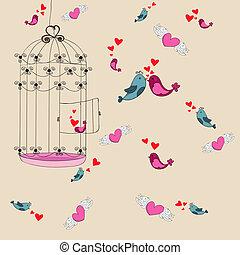 vrijheid, houd van vogel, achtergrond, valentijn