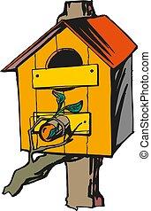 vrijstaand, illustratie, voeder, vector, white., vogel, pictogram