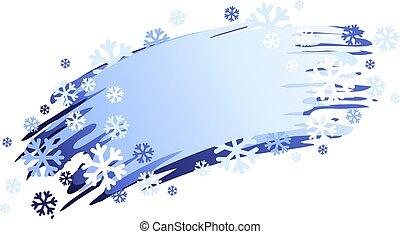 vrijstaand, vector, image., winter, snowflakes., spandoek