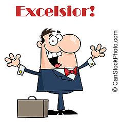 vrolijke , excelsior, zakenman, onder