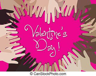 vrolijke , hand, dag, creat, valentijn