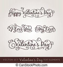 vrolijke , hand, lettering., dag, valentine