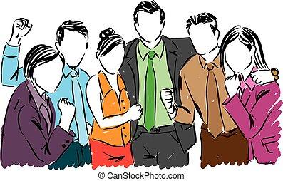 vrolijke , handel illustratie, mensen